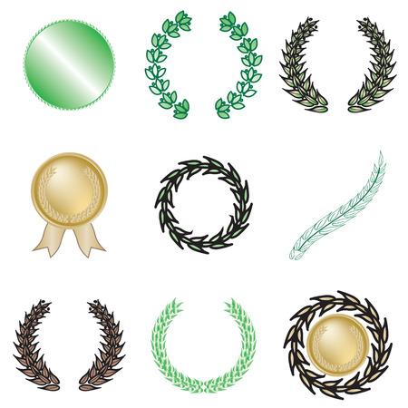 Set of nine wreaths and medallions