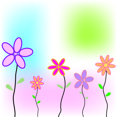 Greeting card with flowers and space for your own text - fully editable Vector