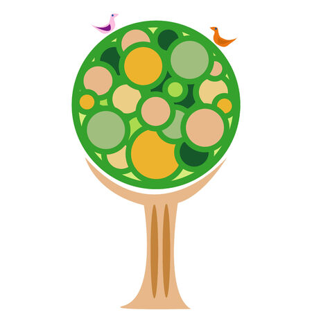 Modern style vector image of a tree and two birds Illustration