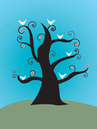 Abstract image of a tree with white doves Vector