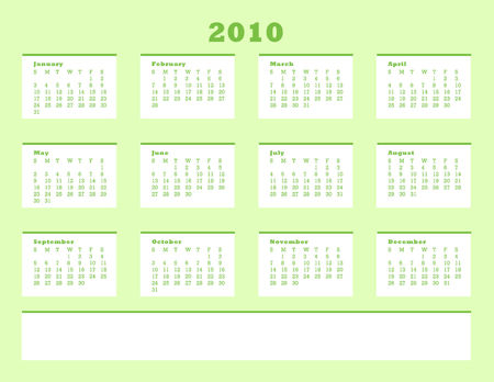 Calender for year 2010