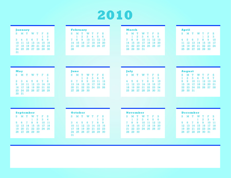 next day: Calender for year 2010