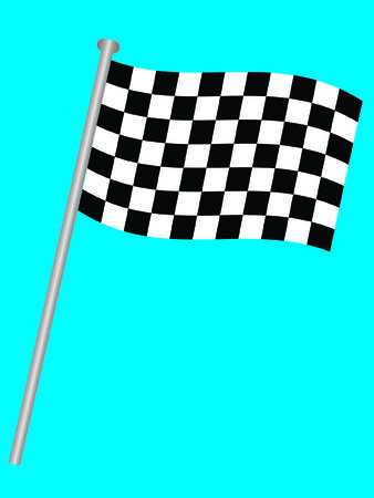 Single chequered flag for the winner on a blue background Stock Vector - 5114258