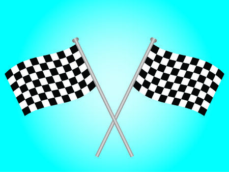 Two chequered flags crossed over each other Vector