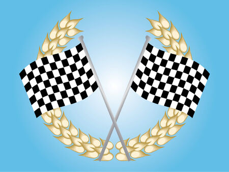 Two chequered flags and a luerel wreath