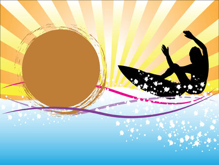 Silhouette of a surfer with sun rays and space for text Stock Vector - 5149739