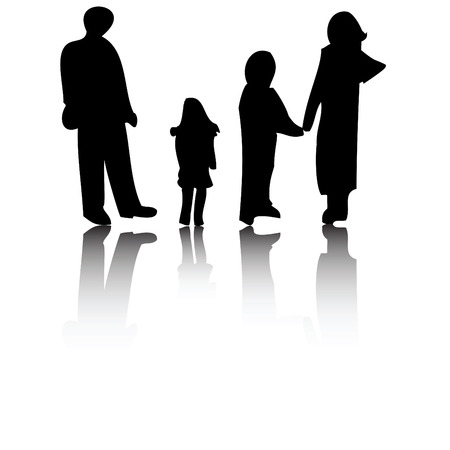 Illustration of a family of four silhouette
