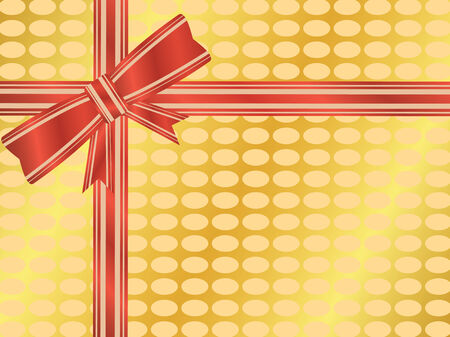 Red and gold ribbon and bow on a gold wrapped gift Illustration