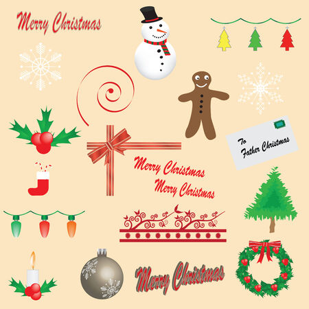 Set of 19 Christmas icons - fully editable Stock Vector - 5357829