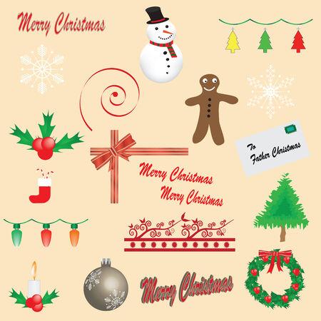Set of 19 Christmas icons - fully editable Illustration