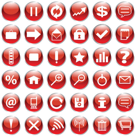 Set of 36 web buttons in red and white Stock Vector - 5357828