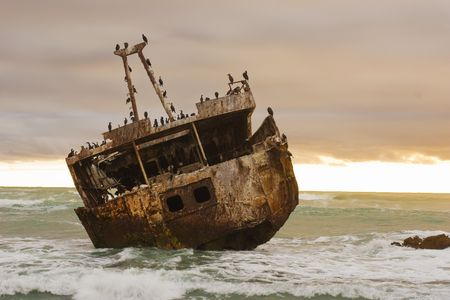 Shipwreck of the coast of South Africa near Agulhas
