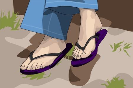 wearing sandals: relaxing female wearing open sandals in garden