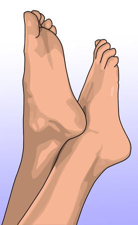 girls feet: females bare feet pointing into the air