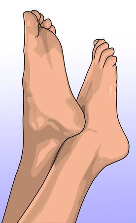 kale: vrouwelijke's blote voeten wijzend in de lucht Stock Illustratie