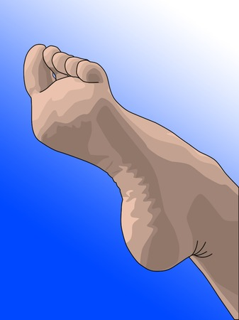 chiropody: female bare foot pointing into the air Illustration