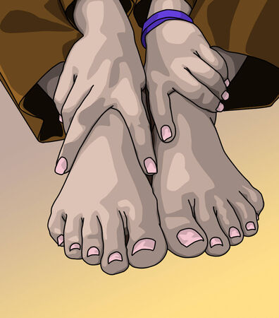 female bare feet and hands posed together