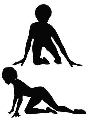 Isolated Silhouette of women crawling on ground
