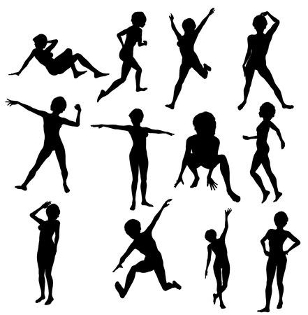 Isolati Silhouettes di donne in pose diverse