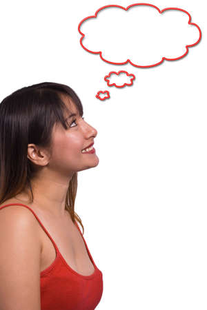woman looking up: Woman looking up and smiling with a think bubble - isolated over a white background Stock Photo