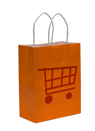 Orange shopping bag isolated on white background Stock Photo - 1438666