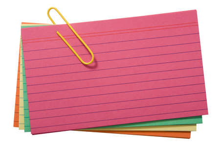 yelllow: Colorful lined cards attached with yelllow clip Stock Photo