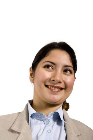 younglady: Smiling woman with blouse and jacket on a white background