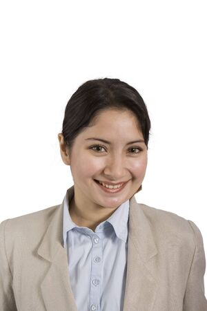 younglady: smiling woman in blouse and jacket on a white background Stock Photo
