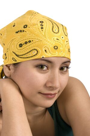younglady: Young lady with a smile wearing a headscarf Stock Photo