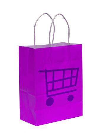 Purple shopping bag isolated on white background Stock Photo - 1528369