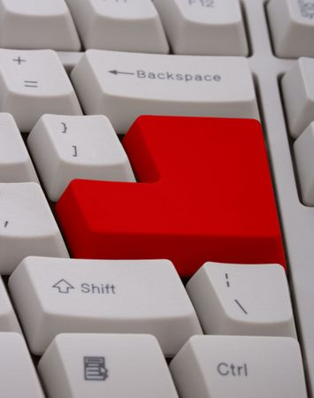 A computer keyboard with a red  key Stock Photo - 2539747