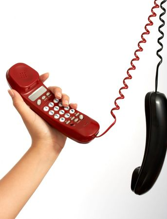 handset phones hanging over a white background Stock Photo - 2539656
