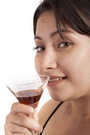 younglady: a young woman drinking a cocktail beverage over a white background