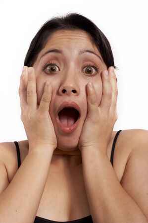 a young woman screaming over a white background photo