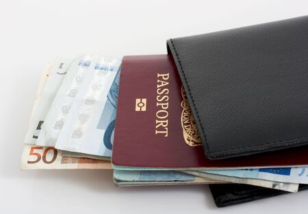 citizenship: passport and a wallet with euro bills