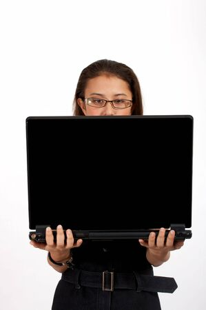 attractive office girl carrying a black laptop Stock Photo - 2615186
