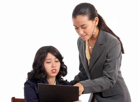 facilitate: troubled employee helped by a senior co-worker Stock Photo