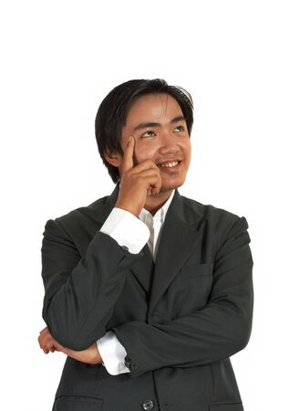 man thinking over a white background photo