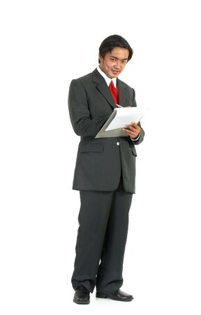 man looking at a folder over a white background Stock Photo - 2887265