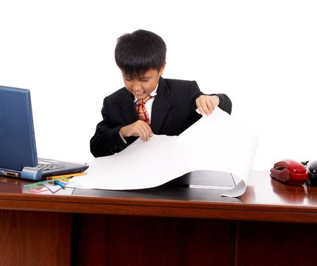 unhappy young businessman tearing off the pattern Stock Photo - 3075188