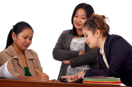 womens work: business meeting of a three executive manager