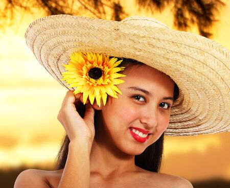 Pretty Smiling Girl In A Hat At Sunset In The Countryside photo