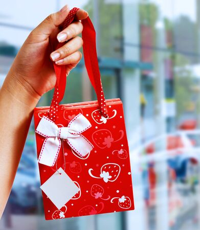 A Gift Wrapped Bag Being Held Up Outside A Shopping Mall photo