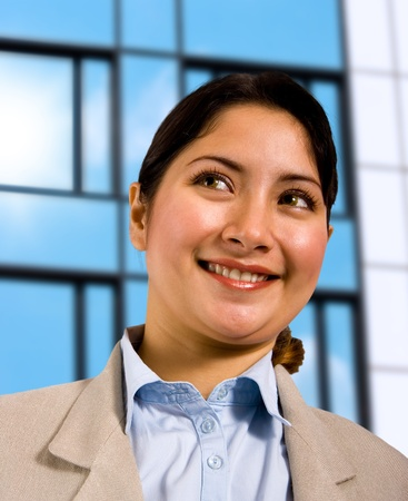 A White Collar Office Worker Standing Outside Her Company Building Stock Photo - 9782490