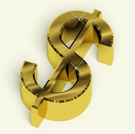 prosperous: Gold Dollar Sign As Symbol For Money Or Wealth