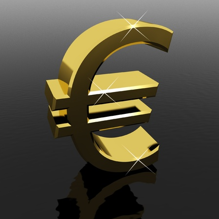 monetary: Gold Euro Sign As Symbol For Money Or Wealth Stock Photo