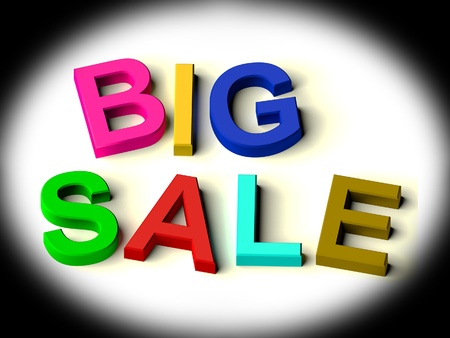 sellout: Colored Letters Spelling Big Sale As Symbol for Discounts And Promotions