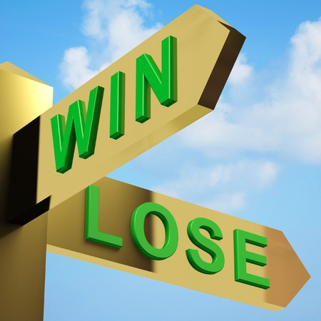 speculating: Win Or Lose Directions On A Brass Signpost