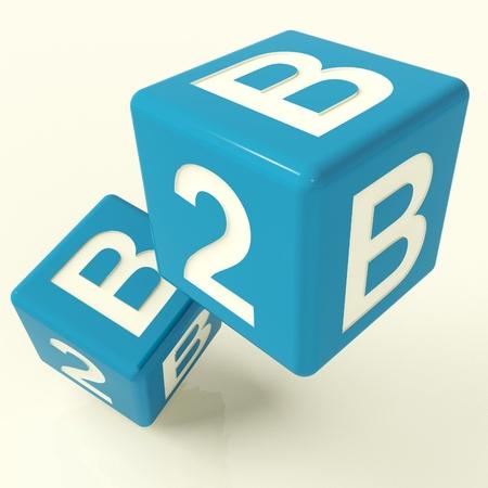 b2b: B2b dados azules como un signo de Negocios y Comercio Foto de archivo