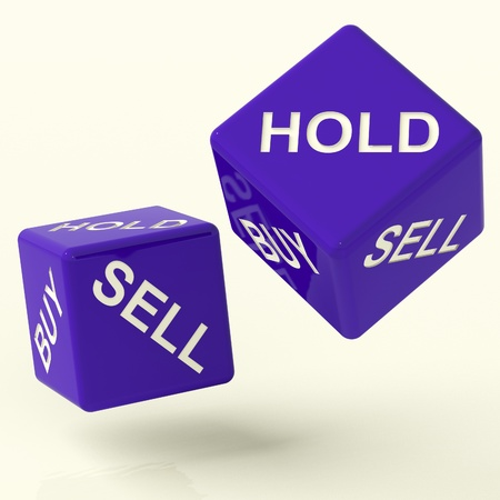 Buy Hold And Sell Blue Dice Representing Market Strategy photo